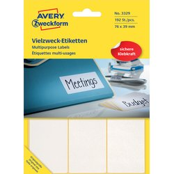 Etiket Avery Zweckform 3329 76x39mm wit 192stuks