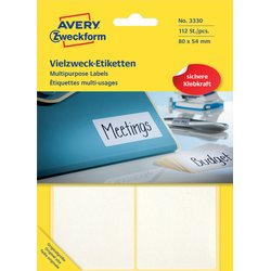 Etiket Avery Zweckform 3330 80x54mm wit 112stuks