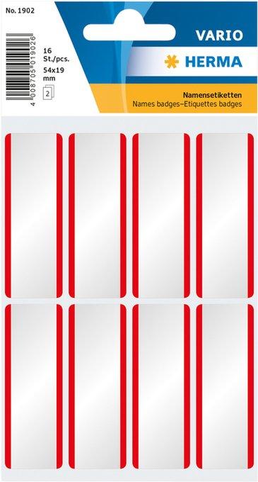 Etiket Herma 1902 54x19mm naametiket wit rood zijde 16stuks