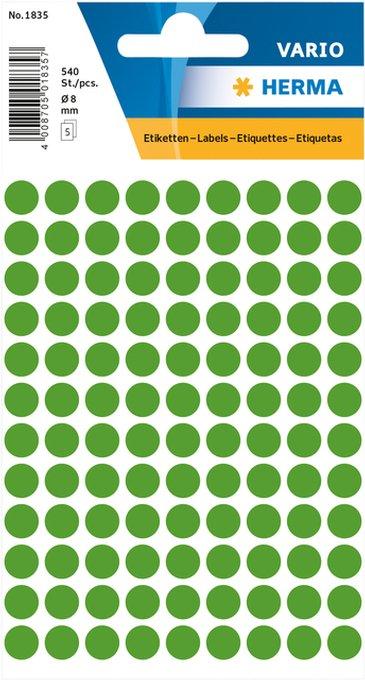 Etiket Herma 1835 rond 8mm donkergroen 540stuks