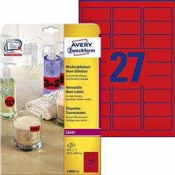 Etiket Avery L6003-25 63.5x29.6 neon rood 675stuks