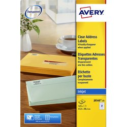 Etiket Avery J8560-25 63.5x38.1mm transparant 525stuks