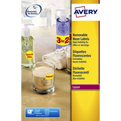 Etiket Avery L7363P-25 99.1x38.1mm neon roze 340stuks