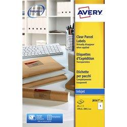 Etiket Avery J8567-25 210x297mm A4 transparant 25stuks
