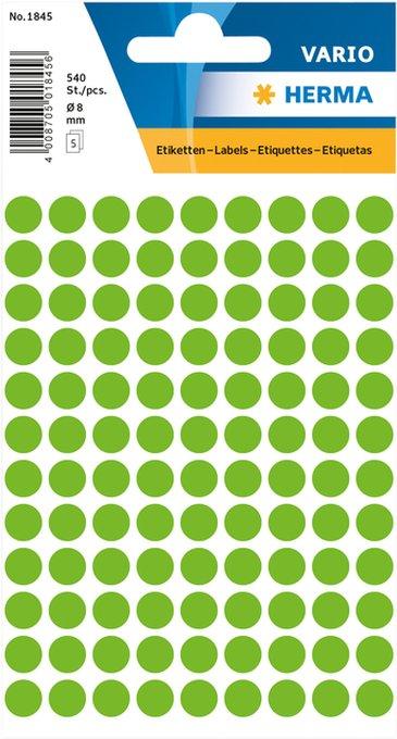 Etiket Herma 1845 rond 8mm groen 540stuks
