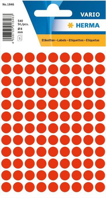 Etiket Herma 1846 rond 8mm fluor rood 540stuks