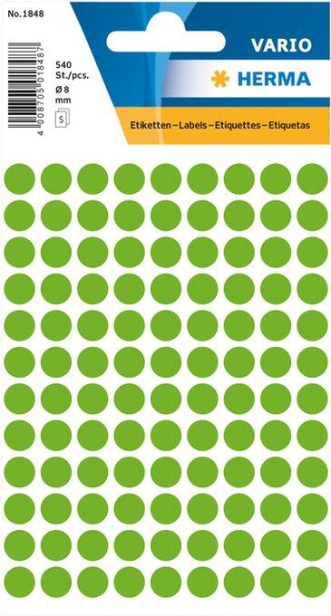 Etiket Herma 1848 rond 8mm fluor groen 540stuks