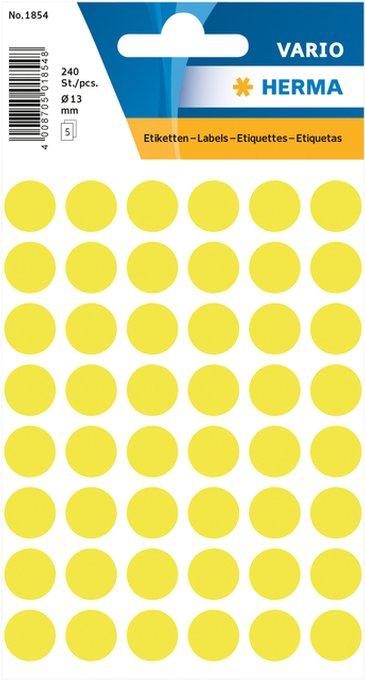 Etiket Herma 1854 rond 12mm fluor geel 240stuks