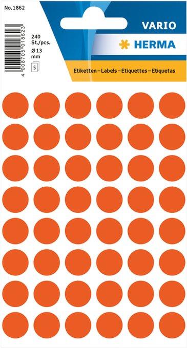 Etiket Herma 1862 rond 12mm rood 240stuks
