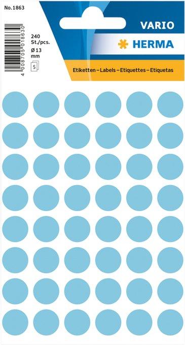 Etiket Herma 1863 rond 12mm blauw 240stuks