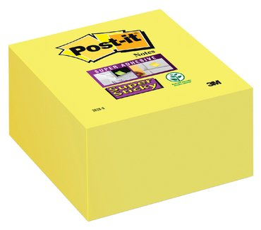 Memoblok 3M Post-it 2028 Super Sticky 76x76mm kubus neon geel