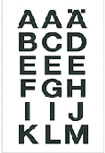 Etiket Herma 4135 20x20mm letters A-Z zwart op transparant