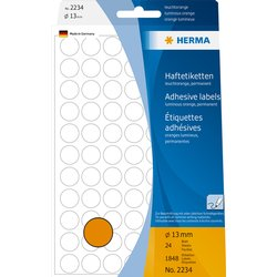 Etiket Herma 2234 rond 13mm fluor oranje 1848stuks