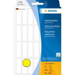 Etiket Herma 2361 13x40mm geel 896stuks