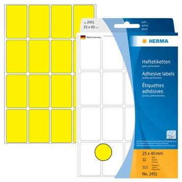Etiket Herma 2451 25x40mm geel 512stuks