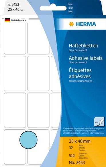 Etiket Herma 2453 25x40mm blauw 512stuks