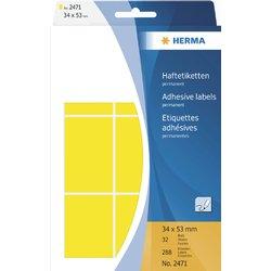 Etiket Herma 2471 34x53Mm geel 288stuks
