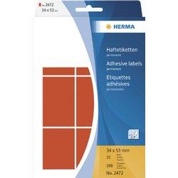 Etiket Herma 2472 34x53Mm rood 288stuks