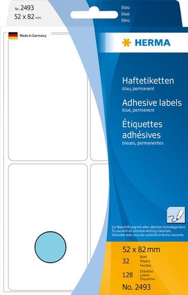Etiket Herma 2493 52x82mm blauw 128stuks