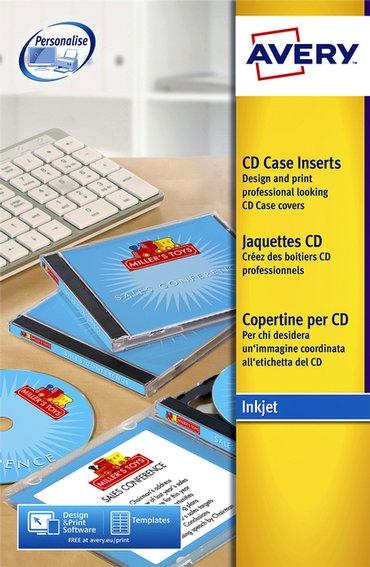 Cd inlegkaart Avery J8435-25 151x118mm 165gr