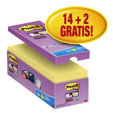 Memoblok 3M Post-it 654 Super Sticky 76x76mm geel 14+2 gratis