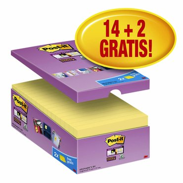 Memoblok 3M Post-it 655 Super Sticky 76x127mm geel 14+2 gratis