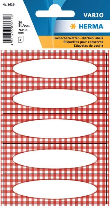 Etiket Herma keuken ruit rood