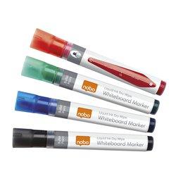 Viltstift Nobo whiteboard Liquid ink drymarker rond ass 3mm 4st