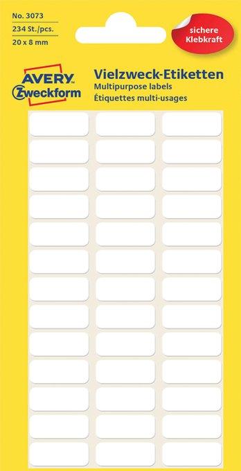 Etiket Avery Zweckform 3073 20x8mm wit 234stuks