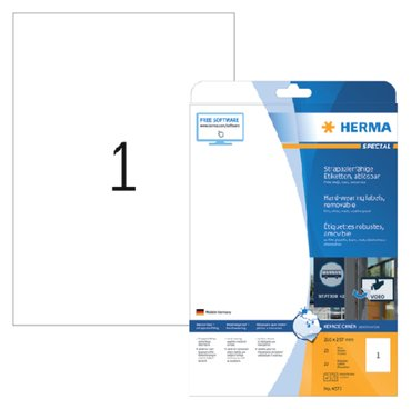 Etiket Herma 4577 210x297mm A4 folie 20st wit