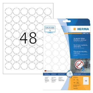 Etiket Herma 4571 30mm rond folie 960stuks wit