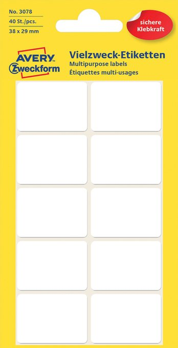 Etiket Avery Zweckform 3078 38x29mm wit 40stuks