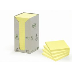 Memoblok 3M Post-it 654 76x76mm recycled pastel geel