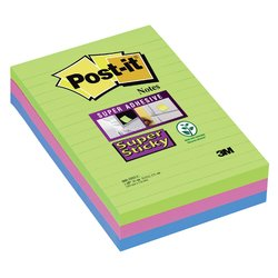 Memoblok 3M Post-it 660 Super Sticky 102x152mm lijn rainbow