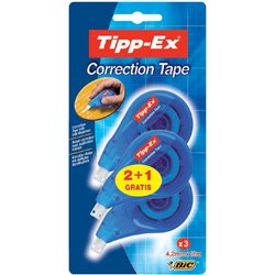 Correctieroller Tipp-ex 4.2mmx12m zijwaarts blister 2+1 gratis