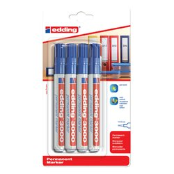 Viltstift edding 3000 rond blauw 1.5-3mm blister à 4st