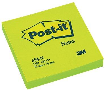 Memoblok 3M Post-it 654 76x76mm neon groen