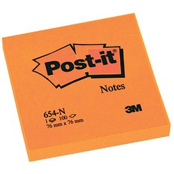 Memoblok 3M Post-it 654 76x76mm neon oranje