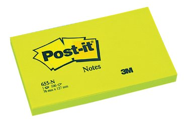 Memoblok 3M Post-it 655 76x127mm neon groen