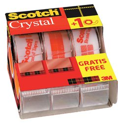 Plakband Scotch Crystal 600 19mmx7.5m transparant 2+1 gratis + afroller