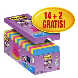 Memoblok 3M Post-it Z-Note S330 Super Sticky 76x76mm 14+2