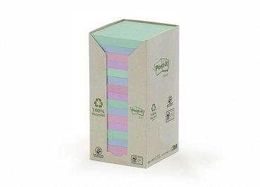 Memoblok 3M Post-it 654 76x76mm recycled rainbow pastel