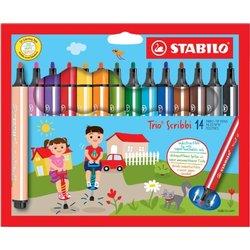 Viltstift STABILO Scribbi 368 etui à 14 kleuren
