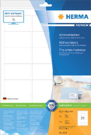 Etiket Herma 8632 63.5x38.1mm premium wit 210stuks