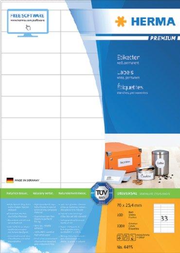 Etiket Herma 4455 70x25.4mm premium wit 3300stuks