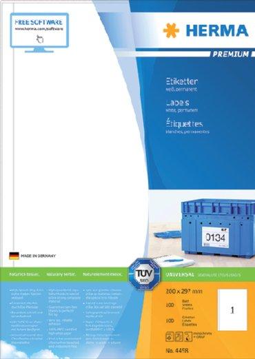 Etiket Herma 4458 200x297mm A4 premium wit 100stuks