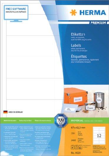 Etiket Herma 4623 96.5x42.3Mm premium wit 2400stuks
