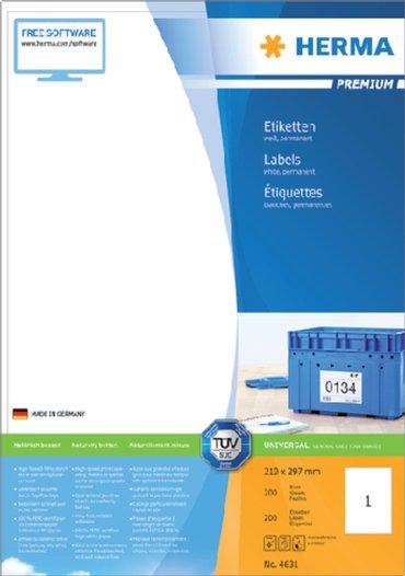 Etiket Herma 4631 210x297mm A4 premium wit 200stuks