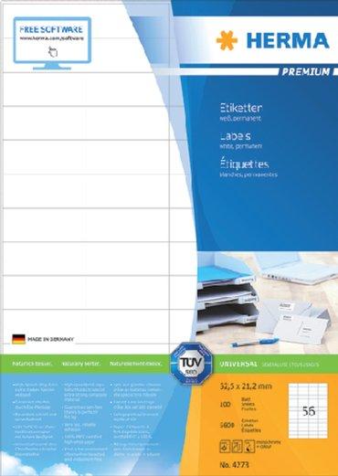 Etiket Herma 4273 52.5x21.2mm premium wit 5600stuks