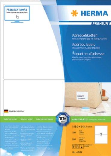 Etiket Herma 4249 199.6x143,5mm premium wit 200stuks